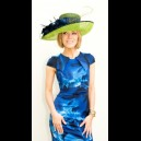 Gorgeous & Glorious Grandiose Navy & Lime with Pheasant Curls