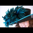 Gorgeous & Glorious Black Sinamay with Turquoise Chinchilla Coque & Trim