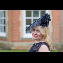 Gorgeous & Glorious Dark Navy & Ivory Medium Saucer Headpiece
