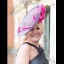 Gorgeous & Glorious Charcoal & Lipstick Pink Medium Saucer Headpiece