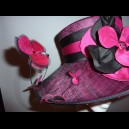 Gorgeous & Glorious Hat for Mother of the Groom in Hot Fuchsia & Black