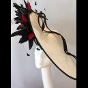 Gorgeous & Glorious White & Black Large Saucer Headpiece with scarlet accents