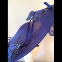 Gorgeous & Glorious Royal Blue Large Saucer Headpiece with Butterflies
