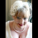 Bespoke Teardrop Bridal Headpiece with Handmade Flowers & Half Veil