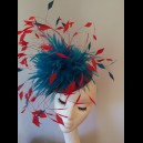 Gorgeous & Glorious Red and Dark Turquoise Feather Headpiece