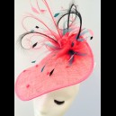Gorgeous & Glorious Raspberry Sinamay Shaped Headpiece with Veiling & Curled Quills