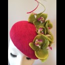 Gorgeous & Glorious Fuchsia Sinamay Beret with Lime Green Orchids