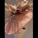 Gorgeous & Glorious Pink Sinamay Headpiece with feathers