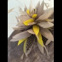 Gorgeous & Glorious Dark Grey Saucer Headpiece with silver & yellow feathers