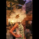 Gorgeous & Glorious Ostrich Feather Headpiece in Natural with Gold Orchids