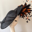 Gorgeous & Glorious Dark Navy & Orange Large Saucer Headpiece