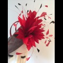 Gorgeous & Glorious Dark Grey Medium Saucer Headpiece with Deep Red Feathers
