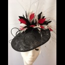 Black Shaped Sinamay Headpiece with Black & White Feathers