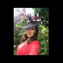 Black Shaped Sinamay Headpiece with Black, White & Red Feathers