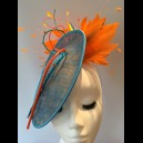 Gorgeous & Glorious 'Galapagos' Turquoise & Orange Oval Saucer Headpiece