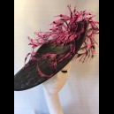 Gorgeous & Glorious Black Large Saucer Headpiece with Hot Pink Feathers