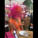 Gorgeous & Glorious Burnt Ostrich Headpiece in Hot Pink & Orange