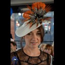 Gorgeous & Glorious Ivory Sinamay Headpiece with Orange Tipped Feathers