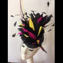 Gorgeous & Glorious 'Feather Firework in Navy, Bright Yellow & Hot Pink