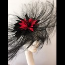 Gorgeous & Glorious Black Burnt Ostrich Feather Headpiece with Red Feather Flower