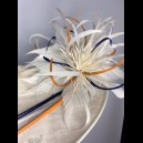 Gorgeous & Glorious Ivory Headpiece with accents of deep blue, terracotta  & marble