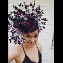 Gorgeous & Glorious Black Feather Headpiece with Hot Pink