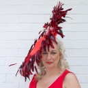 Gorgeous & Glorious Red Feather Catherine Wheel Headpiece